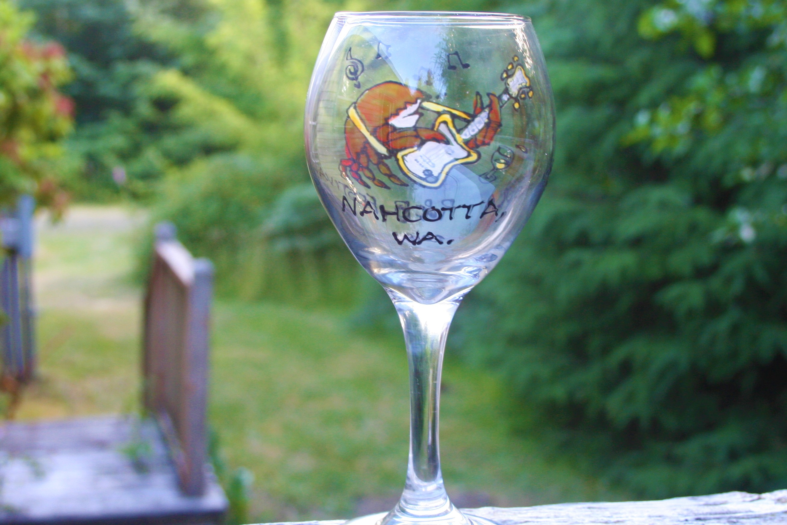 Peninsula Rhythm & Blues Festival Wine Glass by Don Nisbett